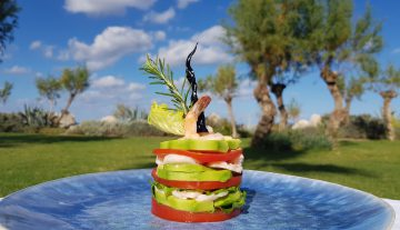 SHRIMP MILLE-FEUILLE WITH AVOCADO, TOMATO, AND TENDER LETTUCE
